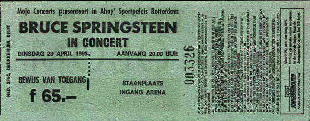 Ticket stub for the 20 Apr 1993 show at Sportpaleis Ahoy, Rotterdam, The Netherlands