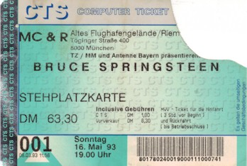 Ticket stub for the 16 May 1993 show at Alter Flughafen Riem, Munich, Germany