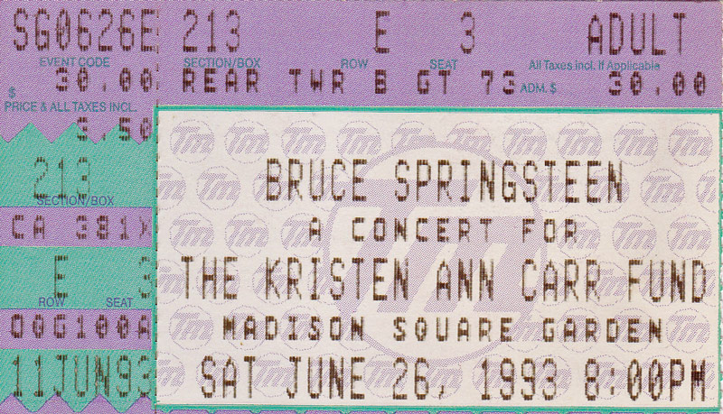 Ticket stub for the 26 Jun 1993 show at Madison Square Garden, New York City, NY