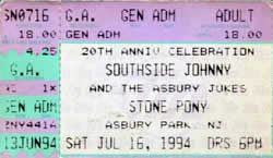 Ticket stub for the 16 Jul 1994 show at The Stone Pony Tent, Asbury Park, NJ