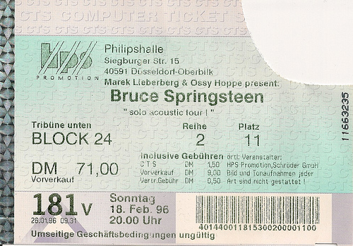 Ticket stub for the 18 Feb 1996 show at Philipshalle, Dusseldorf, Germany