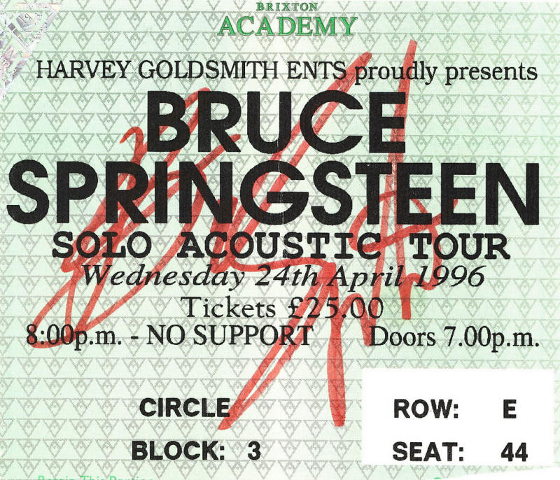Ticket stub for the 24 Apr 1996 show at Brixton Academy, London, England