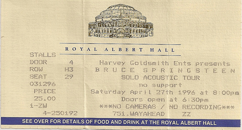 Ticket stub for the 26 Apr 1996 show at Royal Albert Hall, London, England