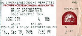 Ticket stub for the 19 Sep 1996 show at Providence Performing Arts Center, Providence, RI