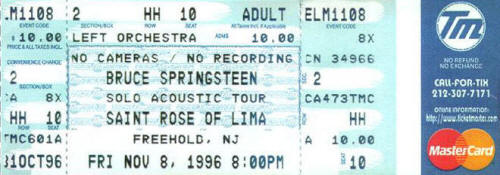 Ticket stub for the 08 Nov 1996 show at Saint Rose Of Lima School, Freehold, NJ
