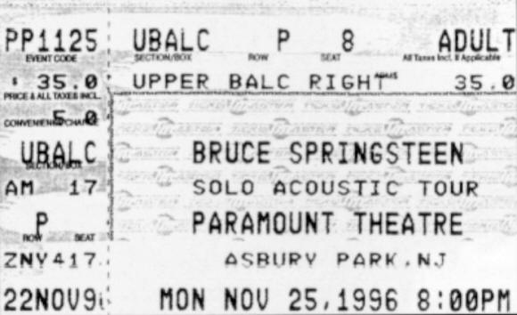 Ticket stub for the 25 Nov 1996 show at Paramount Theatre, Asbury Park, NJ