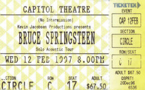 Ticket stub for the 12 Feb 1997 show at Capitol Theatre, Sydney, Australia