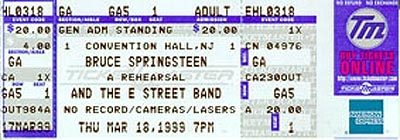 Ticket stub for the 18 Mar 1999 show at Convention Hall, Asbury Park, NJ