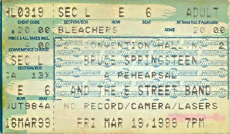 Ticket stub for the 19 Mar 1999 show at Convention Hall, Asbury Park, NJ