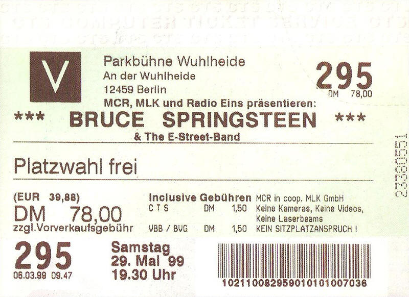 Ticket stub for the 29 May 1999 show at Parkbühne Wuhlheide, Berlin, Germany