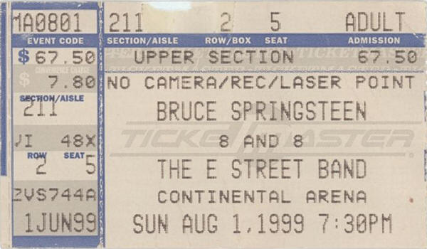 Ticket stub for the 01 Aug 1999 show at Continental Airlines Area, East Rutherford, NJ