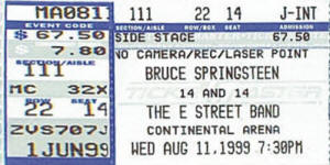 Ticket stub for the 11 Aug 1999 show at Continental Airlines Area, East Rutherford, NJ