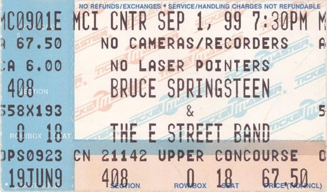 Ticket stub for the 01 Sep 1999 show at MCI Center, Washington, DC