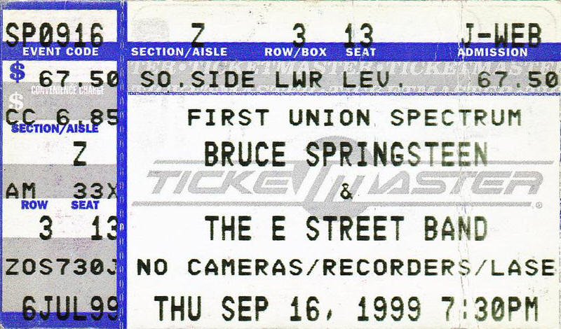 Ticket stub for the 24 Sep 1999 show at First Union Spectrum, Philadelphia, PA