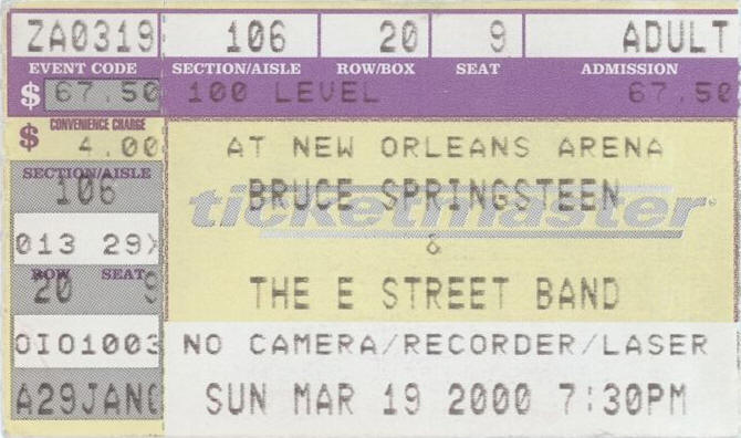 Ticket stub for the 19 Mar 2000 show at 19 Mar 2000 at New Orleans Arena, New Orleans, LA
