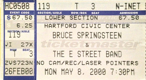 Ticket stub for the 08 May 2000 show at Civic Center, Hartford, CT