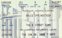 Ticket stub for the 20 Jun 2000 show at Madison Square Garden, New York City, NY