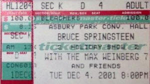 Ticket stub for the 04 Dec 2001 show at Asbury Park Convention Hall, Asbury Park, NJ