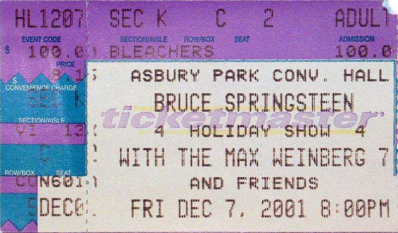 Ticket stub for the 07 Dec 2001 show at Convention Hall, Asbury Park, NJ