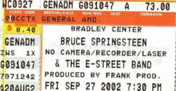 Ticket stub for the 27 Sep 2002 show at Bradley Center, Milwaukee, WI