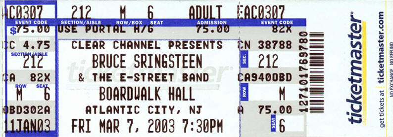 Ticket stub for the 07 Mar 2003 show at Boardwalk Hall, Atlantic City, NJ