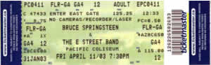 Ticket stub for the 11 Apr 2003 show at Pacific Coliseum, Vancouver, Canada