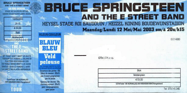 Ticket stub for the 12 May 2003 show at Koning Boudewijn Stadion, Brussels, Belgium