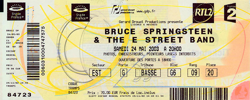 Ticket stub for the 24 May 2003 show at Stade De France, Saint-Denis, France
