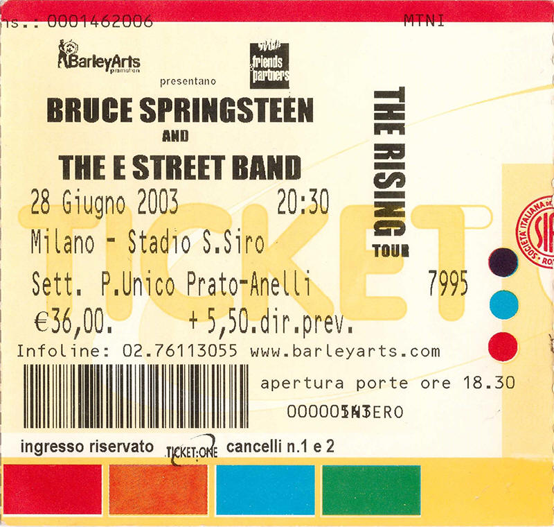 Ticket stub for the 28 Jun 2003 show at Stadio Giuseppe Meazza, Milan, Italy