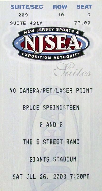 Ticket stub for the 26 Jul 2003 show at Giants Stadium, East Rutherford, NJ