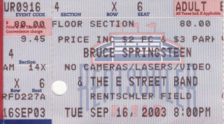 Ticket stub for the 16 Sep 2003 show at Rentschler Field, Hartford, CT