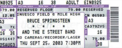 Ticket stub for the 25 Sep 2003 show at Invesco Field At Mile High, Denver, CO