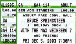 Ticket stub for the 05 Dec 2003 show at Asbury Park Convention Hall, Asbury Park, NJ