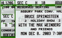 Ticket stub for the 08 Dec 2003 show at Asbury Park Convention Hall, Asbury Park, NJ