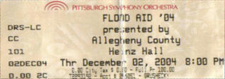 Ticket stub for the 02 Dec 2004 show at Heinz Hall, Pittsburgh, PA