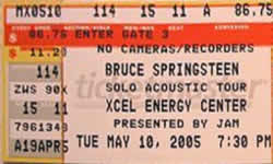 Ticket stub for the 10 May 2005 show at Xcel Energy Center, Saint Paul, MN