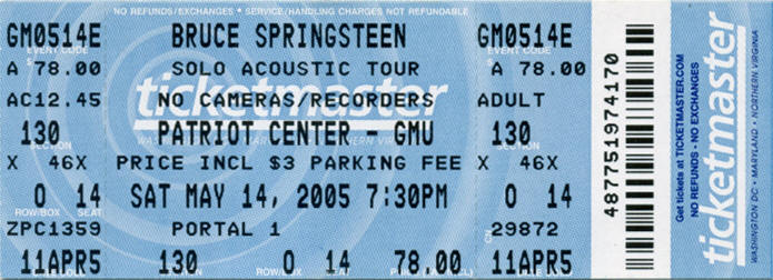 Ticket stub for the 14 May 2005 show at Patriot Center, Fairfax, VA