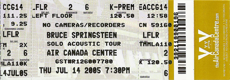 Ticket stub for the 14 Jul 2005 show at Air Canada Centre, Toronto, Canada