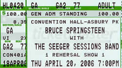 Ticket stub for the 20 Apr 2006 show at Convention Hall, Asbury Park, NJ