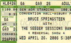 Ticket stub for the 26 Apr 2006 show at Convention Hall, Asbury Park, NJ