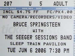 Ticket stub for the 06 Jun 2006 show at Sleep Train Pavilion, Concord, CA