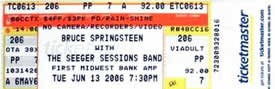 Ticket stub for the 13 Jun 2006 show at First Midwest Bank Amphitheater, Tinley Park, IL