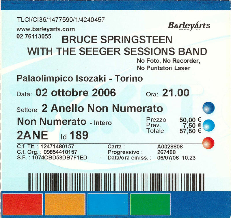 Ticket stub for the 02 Oct 2006 show at Palaisozaki, Torino, Italy