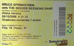 Ticket stub for the 05 Oct 2006 show at Arena Di Verona, Verona, Italy