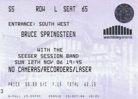 Ticket stub for the 12 Nov 2006 show at Wembley Arena, London, England