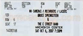 Ticket stub for the 06 Oct 2007 show at Wachovia Center, Philadelphia, PA