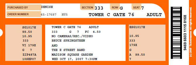 Ticket stub for the 17 Oct 2007 show at Madison Square Garden, New York City, NY