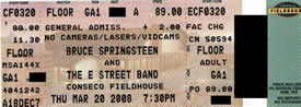 Ticket stub for the 20 Mar 2008 show at Conseco Fieldhouse, Indianapolis, IN