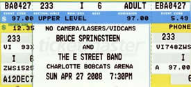 Ticket stub for the 27 Apr 2008 show at Charlotte Bobcats Arena, Charlotte, NC