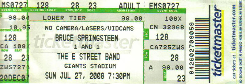 Ticket stub for the 27 Jul 2008 show at Giants Stadium, East Rutherford, NJ